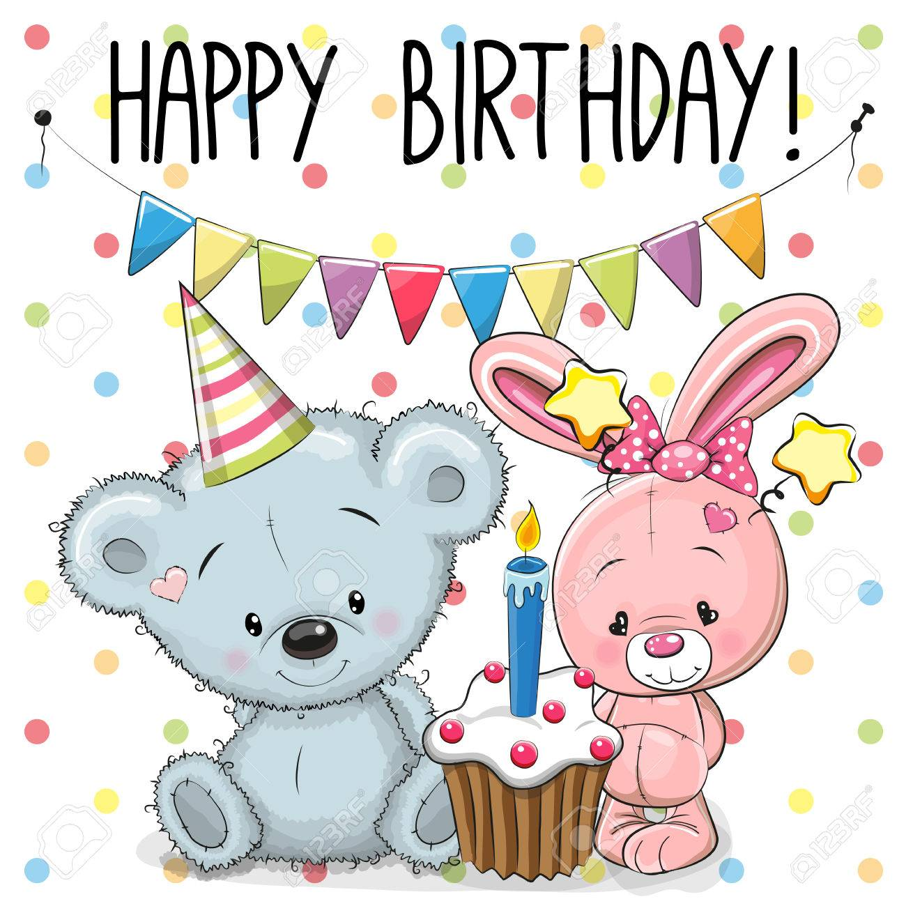 Greeting Birthday Card With Cute Rabbit And Teddy Bear Royalty Free