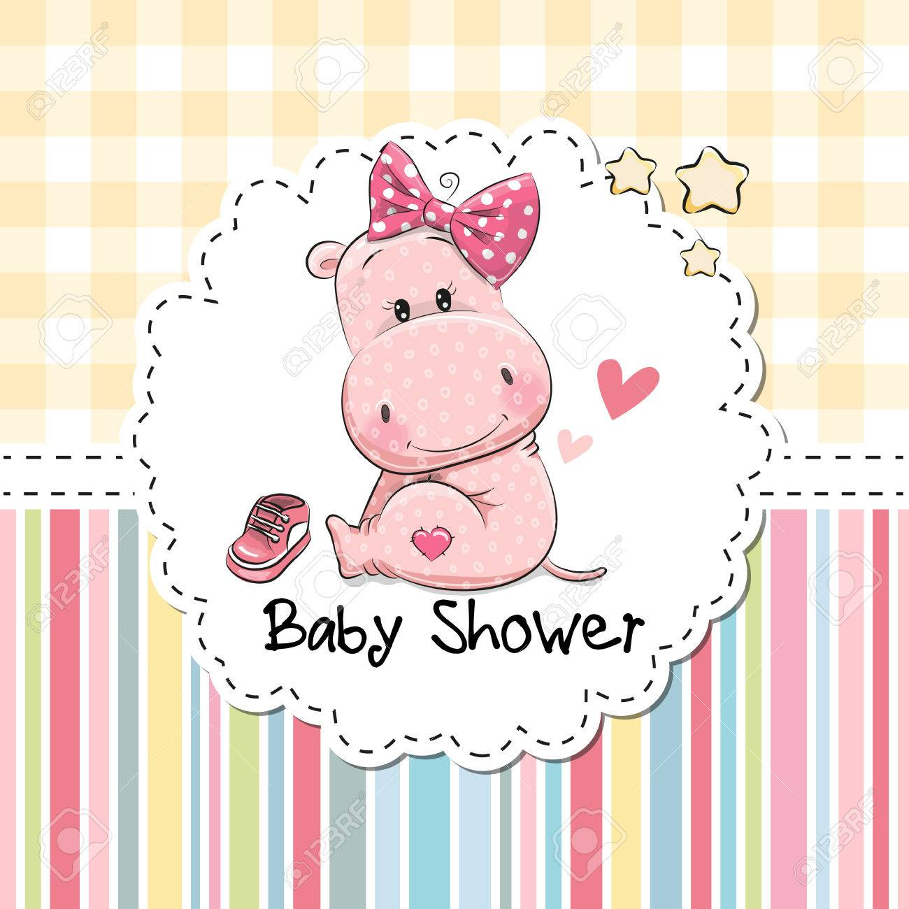 Baby shower greeting card with cute cartoon hippo girl royalty free baby shower greeting card with cute cartoon hippo girl stock vector 72008154 m4hsunfo
