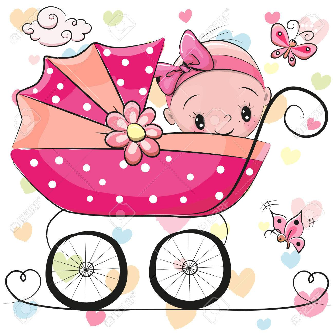 Cute Cartoon Baby girl is sitting on a carriage on a hearts background - 72014180
