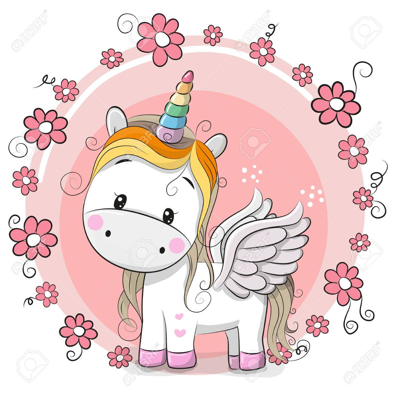 Cute Cartoon Unicorn With Flowers On A Pink Background Stock Vector