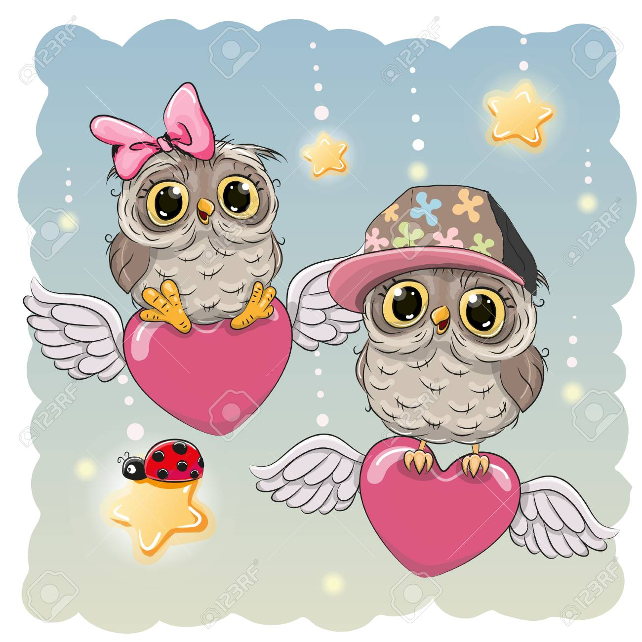 Valentine Card Lovers Owls Are Flying On The Hearts Royalty Free