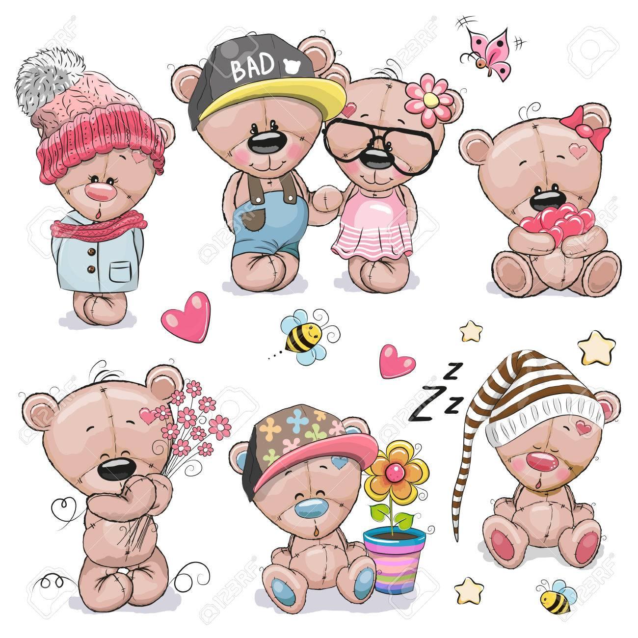 Set of Cute Cartoon Teddy Bear on a white background - 77395755