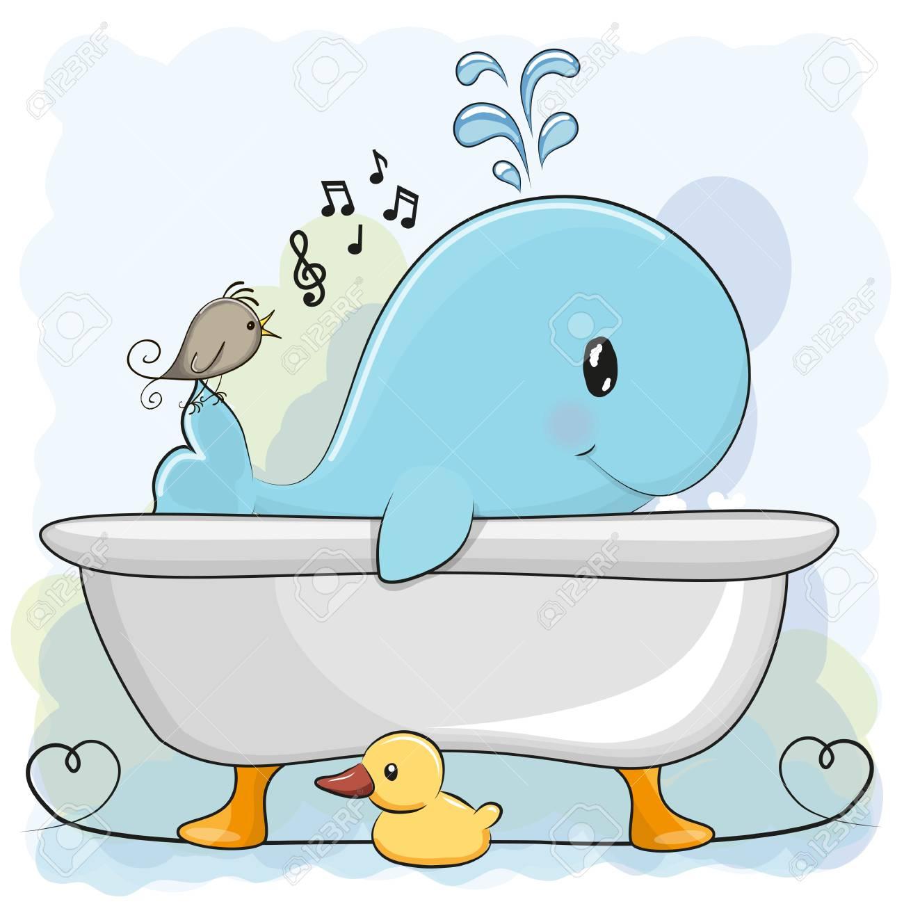Cute Cartoon Whale In The Bathroom Stock Vector