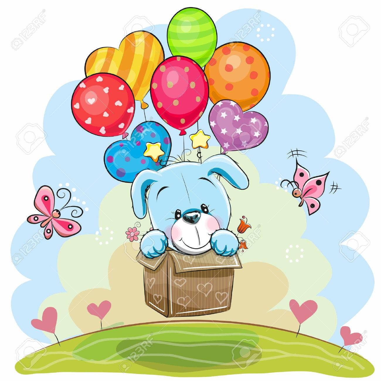 Cute Cartoon Puppy in the box is flying on balloons - 78751351