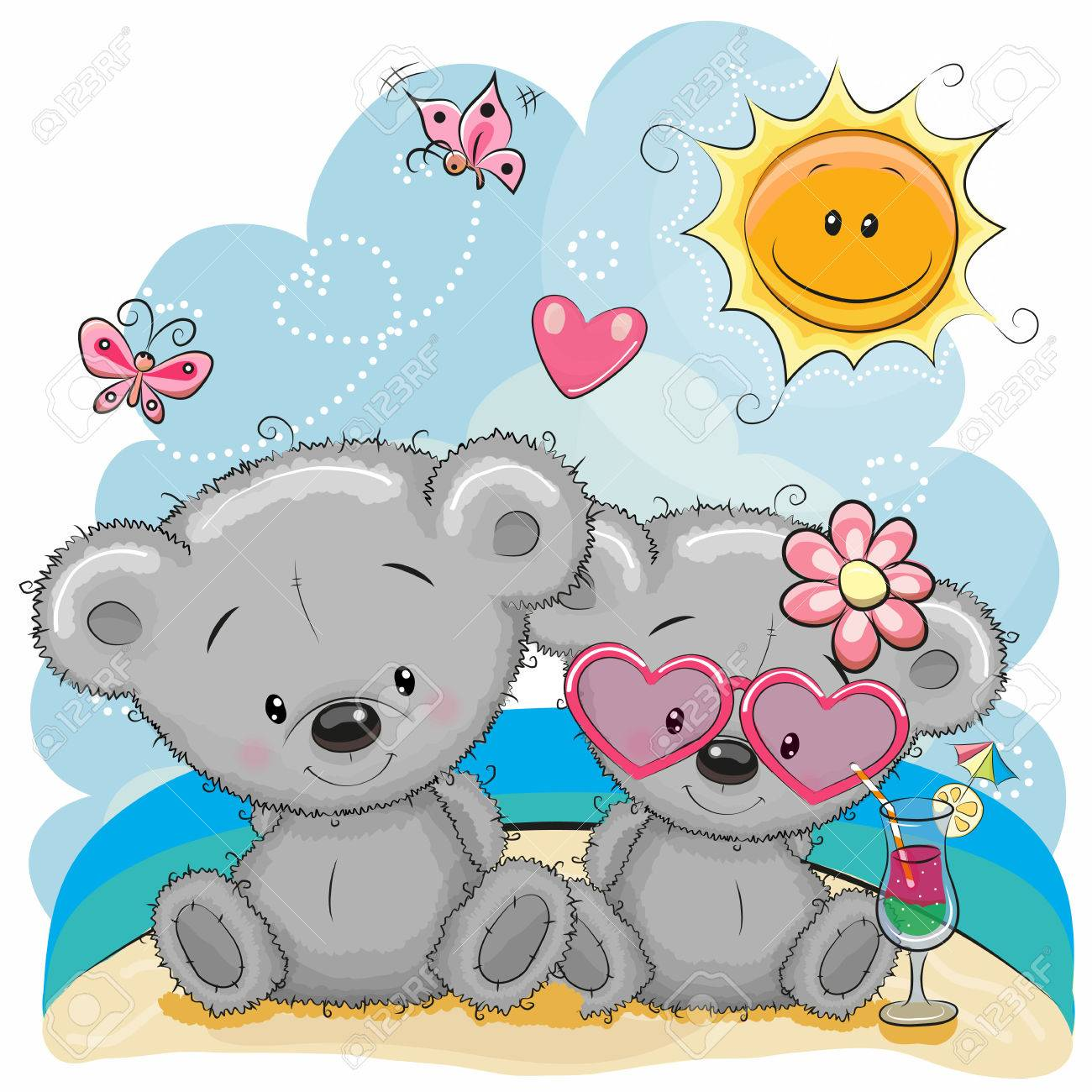 Greeting card Two Bears in a cap on the beach - 78751398