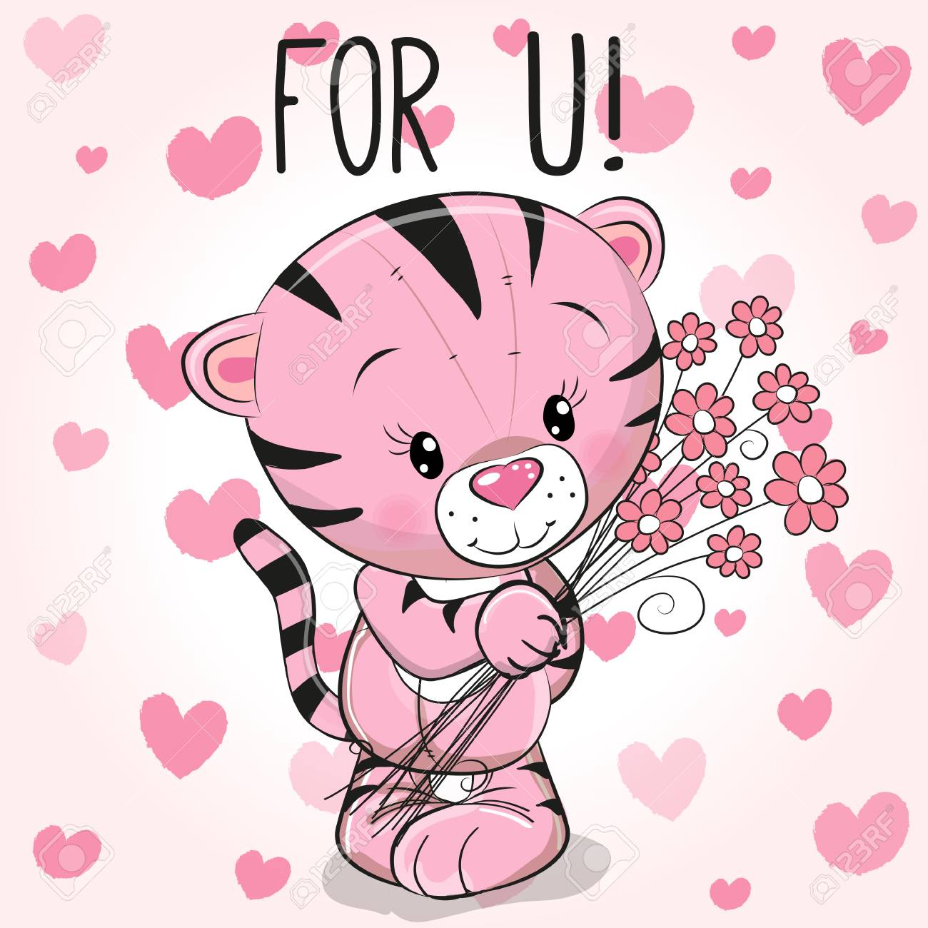 Valentine Card Cute Cartoon Tiger With Flowers On A Hearts Background Stock Vector