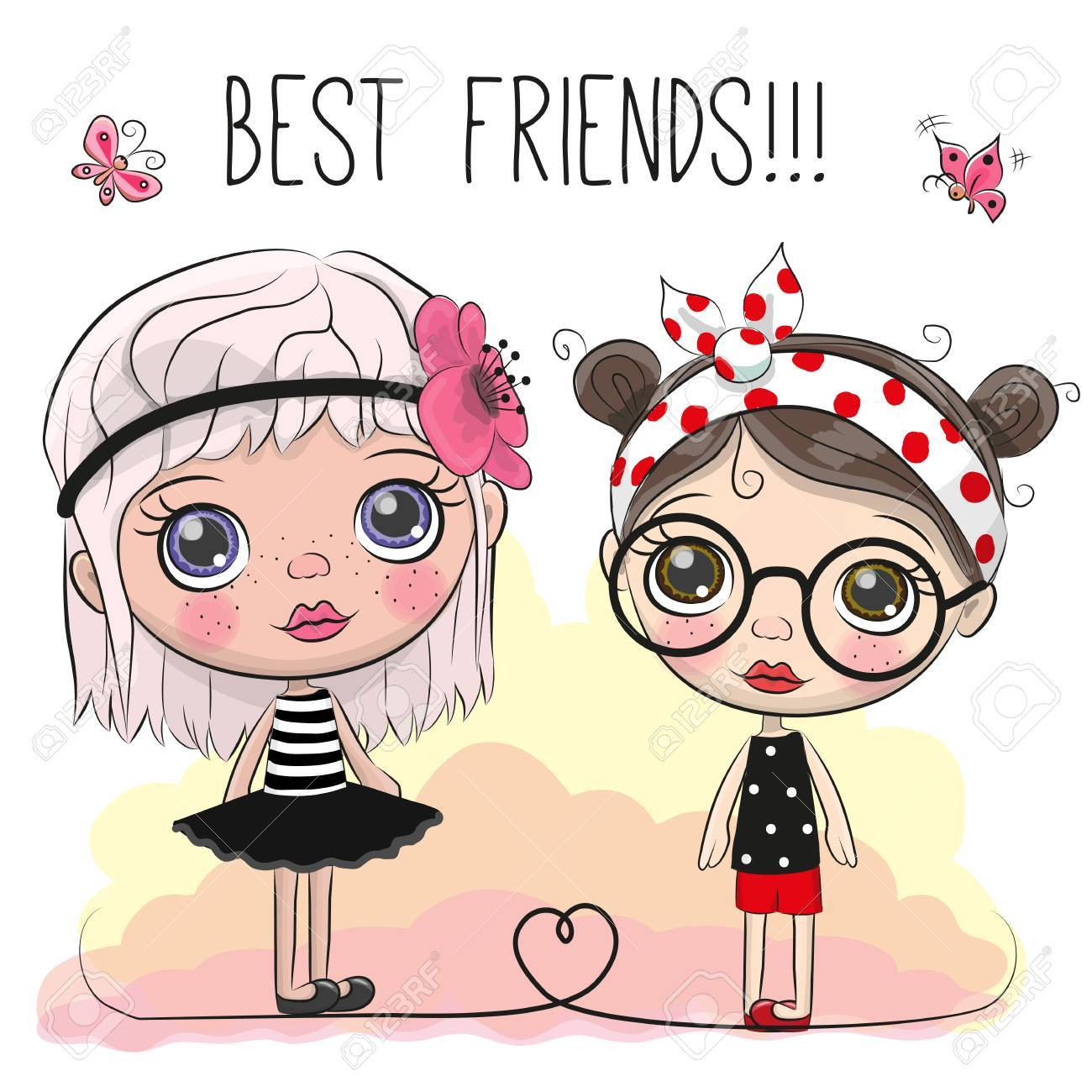 Two Friends Cute Cartoon Girls With Big Eyes Royalty Free Cliparts