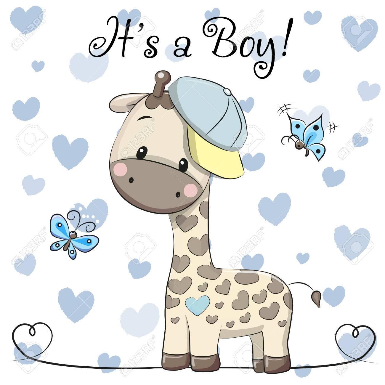 Baby Shower Greeting Card with cute Cartoon Giraffe boy - 85057932