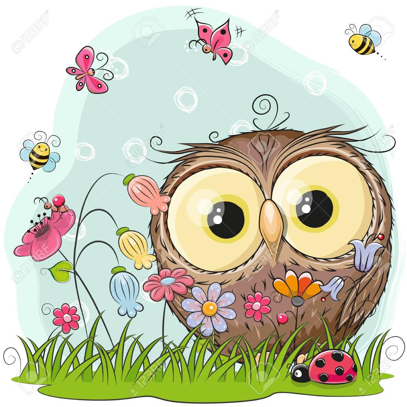 Chouette Dessin Animé Mignon Sur Une Prairie Avec Des Fleurs Et Des Papillons