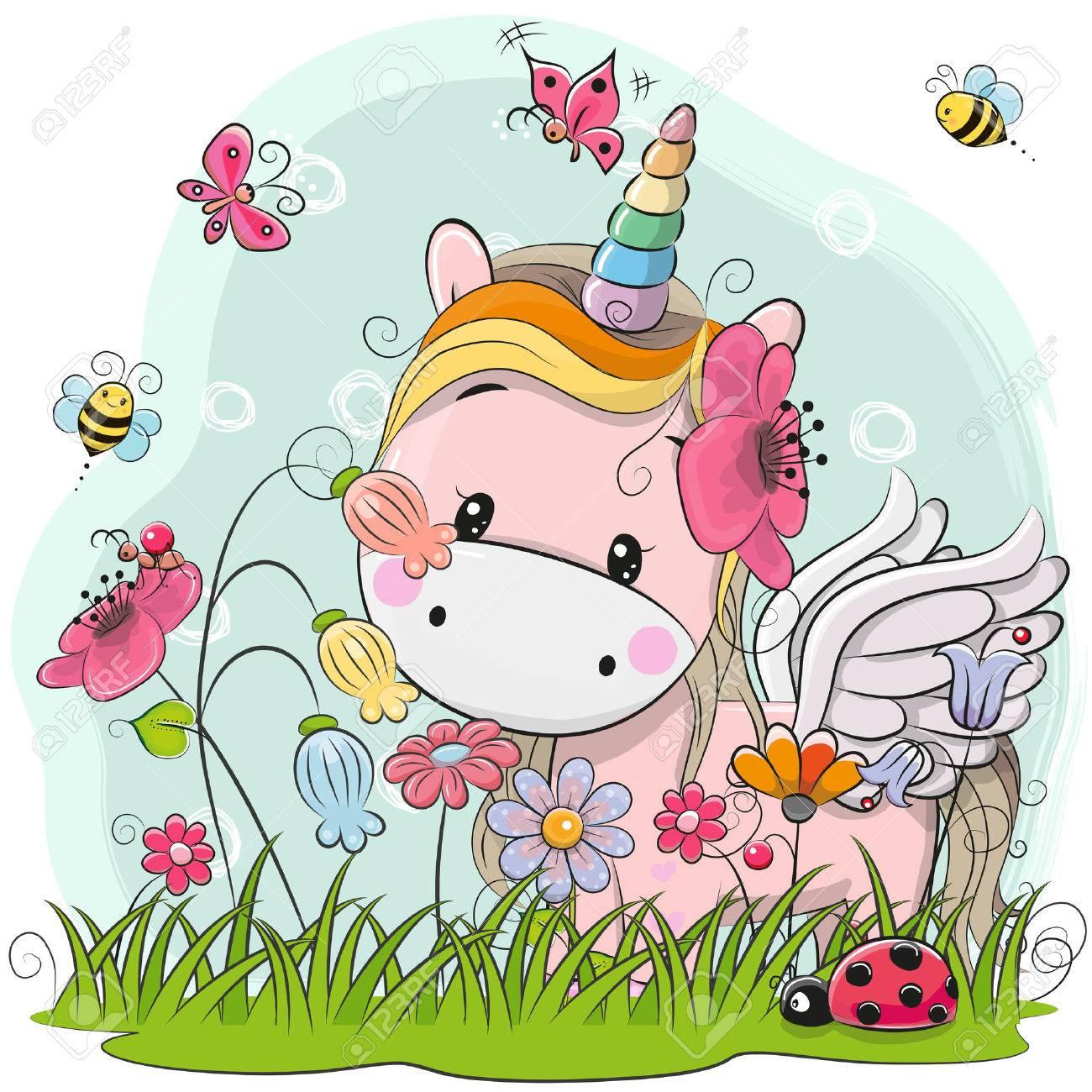 Cute Cartoon Kitt Unicorn on a meadow with flowers and butterflies - 85423967