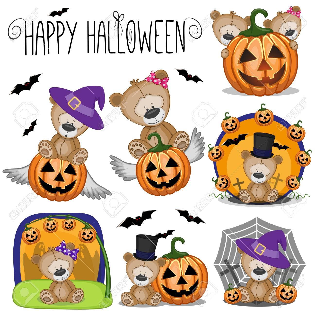 Cute Halloween set with Cartoon Teddy Bear - 85454968