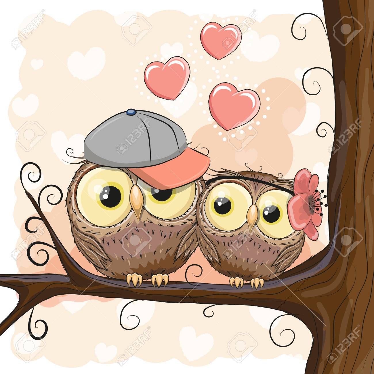Two Cute Owls Is Sitting On A Branch Royalty Free Cliparts Vectors And Stock Illustration Image 85641161