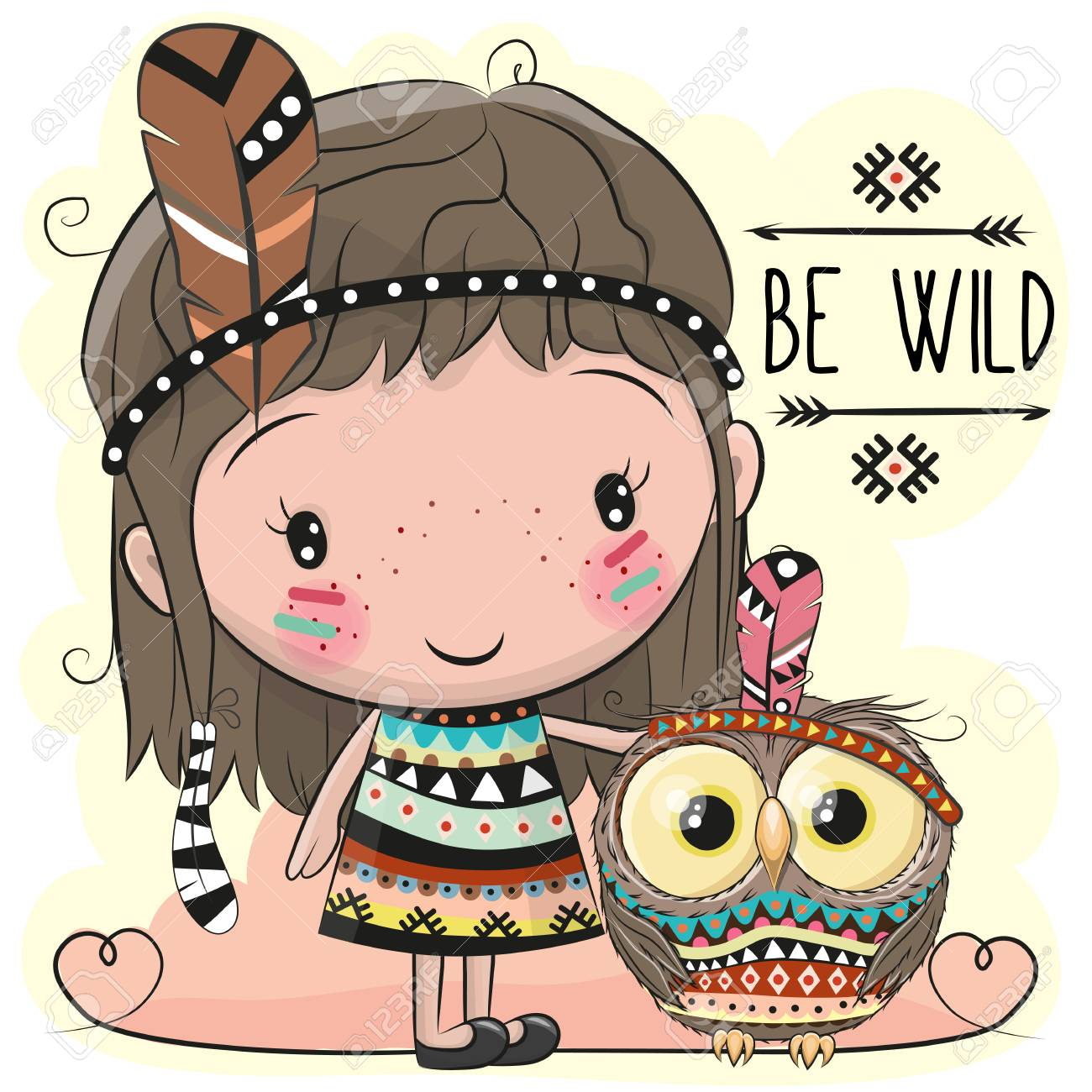 Cute Cartoon Tribal Girl And Owl With Feather Royalty Free Cliparts ... ec073120b35a