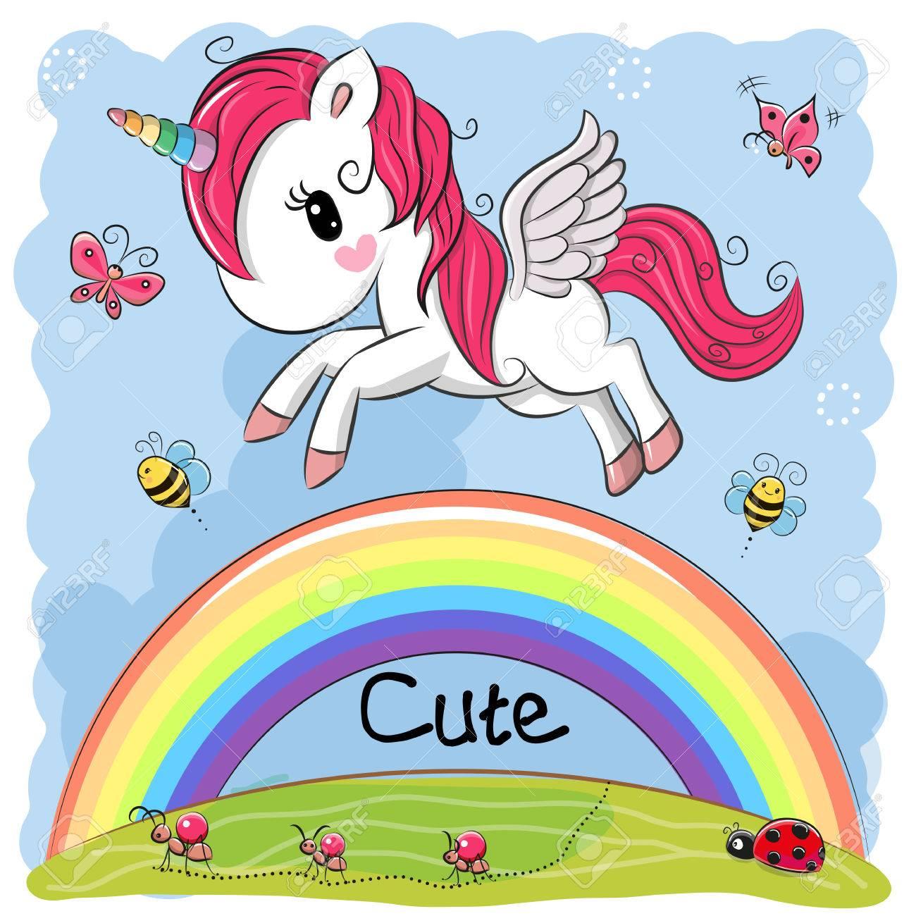 Cute Cartoon Unicorn is flying over the rainbow - 87041797