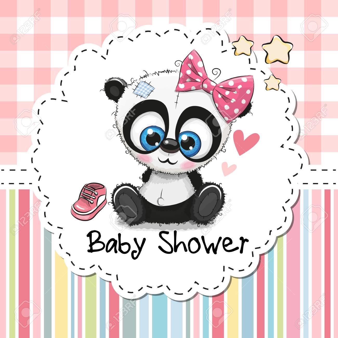 Baby Shower Greeting Card With Cute Cartoon Panda Girl Clip Art