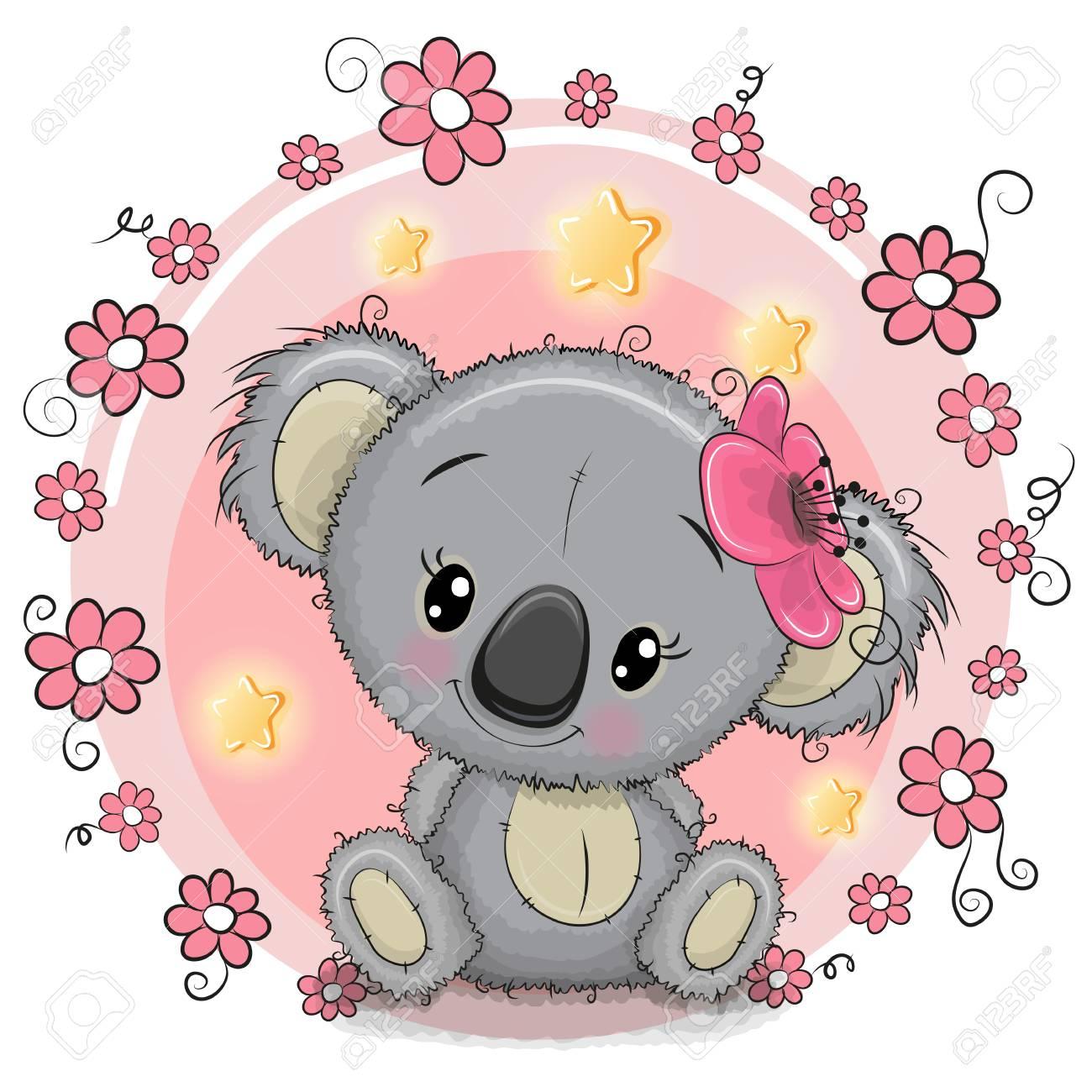 Greeting card cute cartoon koala with flowers royalty free cliparts greeting card cute cartoon koala with flowers stock vector 88069508 m4hsunfo