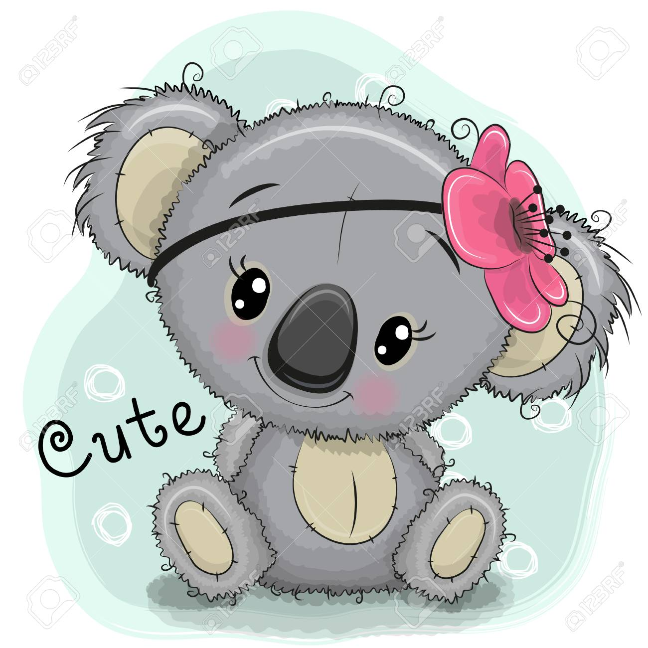 Cute Drawing Koala Girl Isolated On A Blue Background Royalty Free