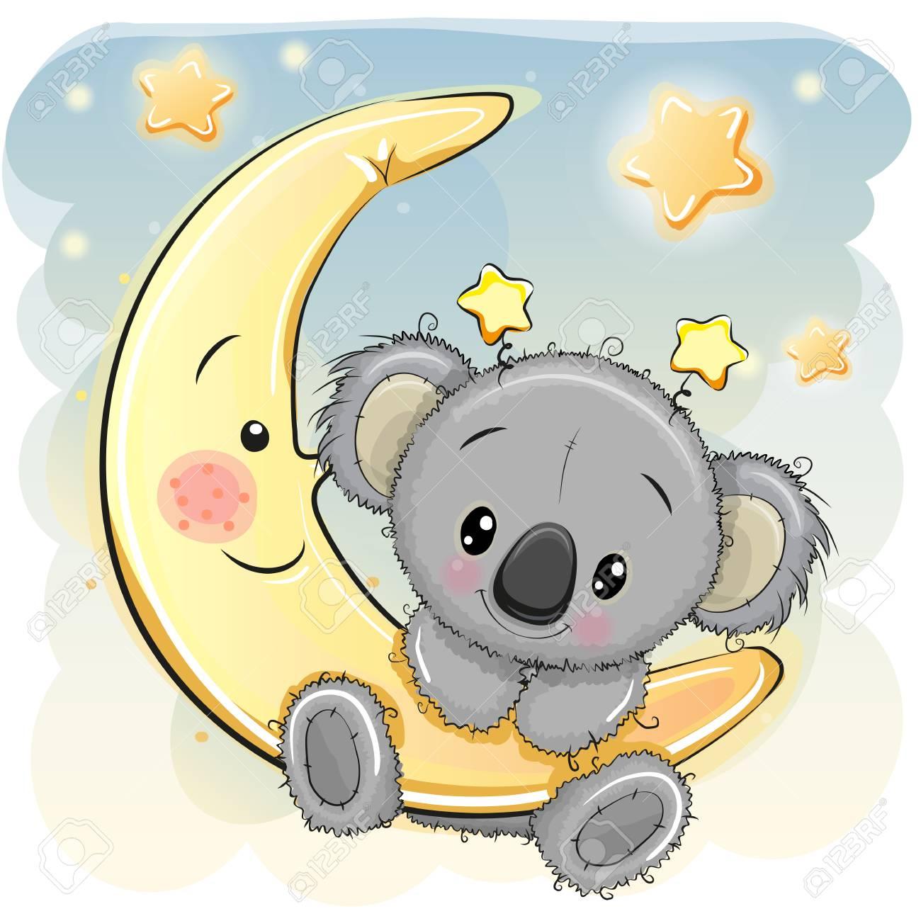 Greeting card cute cartoon koala on the moon royalty free cliparts greeting card cute cartoon koala on the moon stock vector 88086179 m4hsunfo
