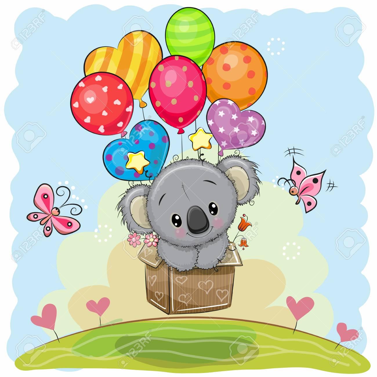 Cute Cartoon Koala in the box is flying on balloons - 88086181