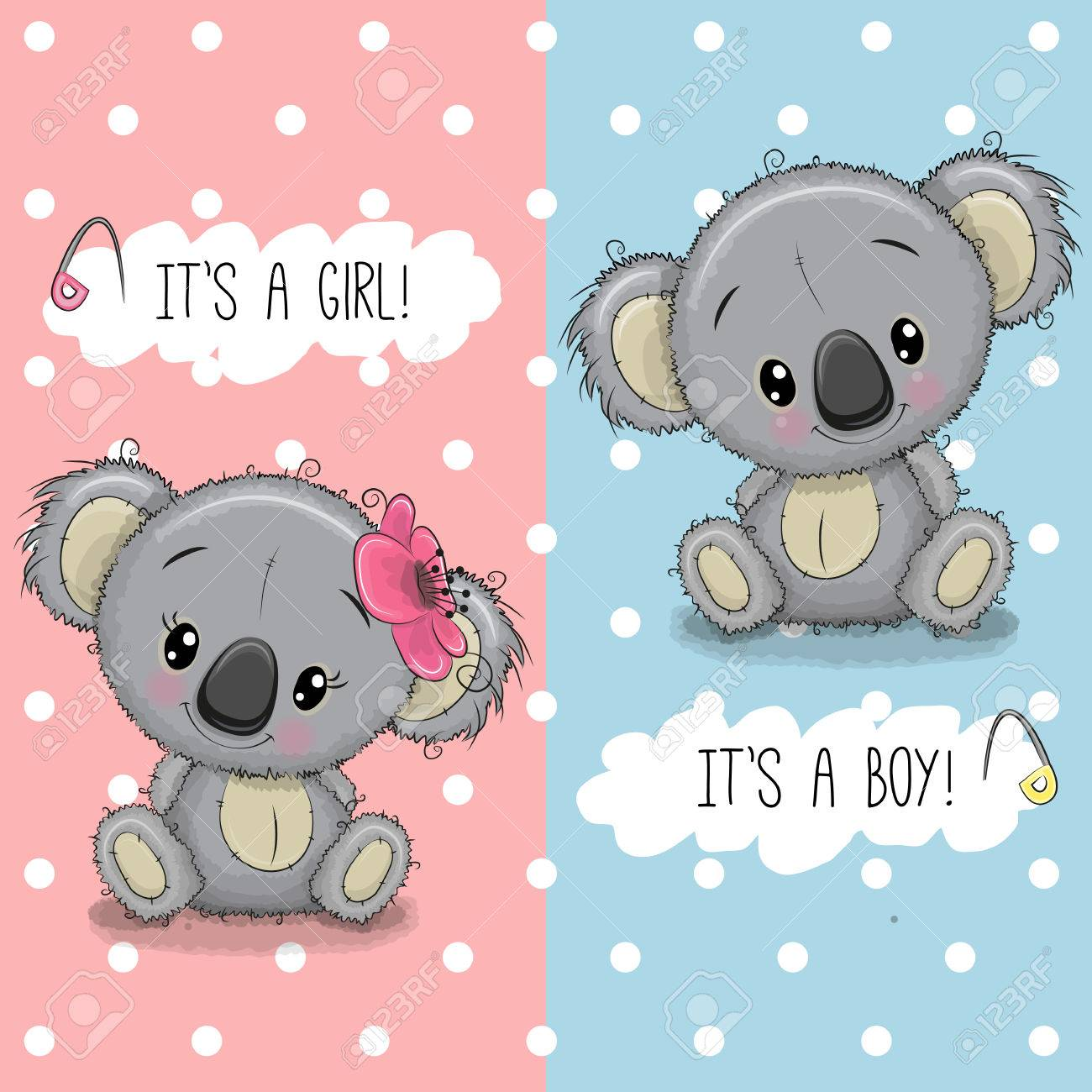 Baby Shower Greeting Card With Cute Koalas Boy And Girl Royalty Free