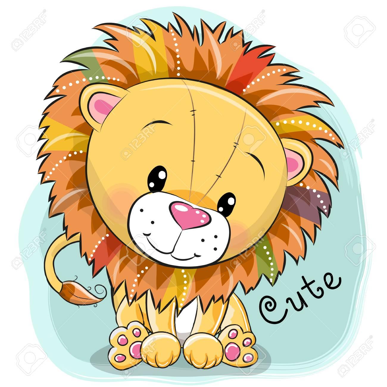 Cute cartoon lion on a blue background, vector illustration. - 89310770
