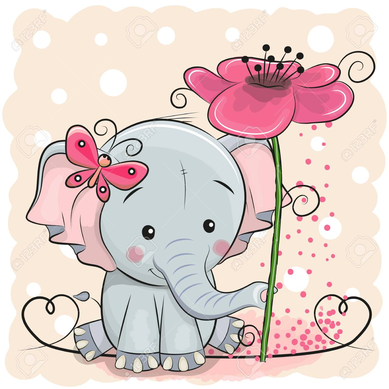Greeting card elephant with flower on a pink background, vector illustration. - 89310782
