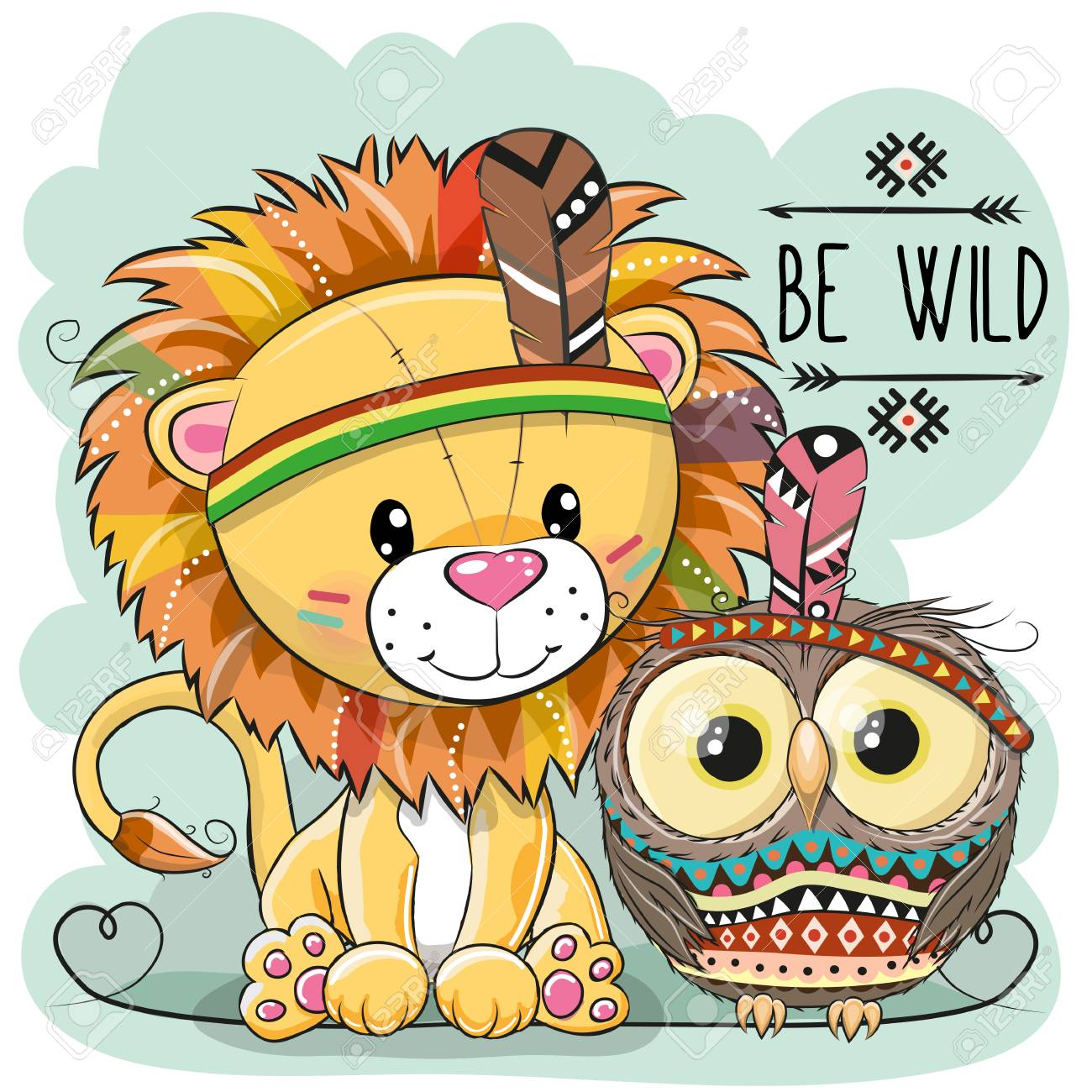 Lion Tribal De Dessin Animé Mignon Et Hibou Avec Plume Illustration Vectorielle