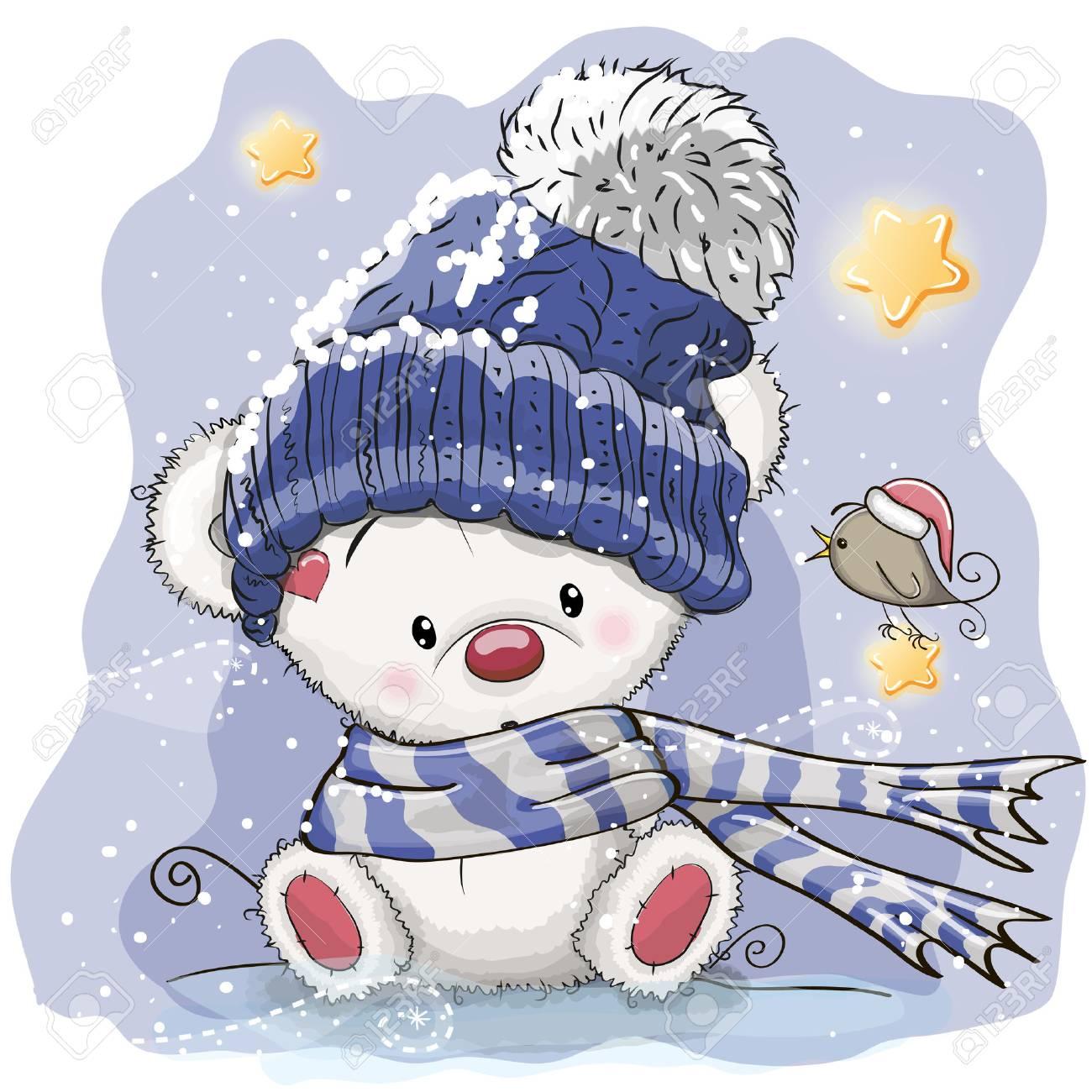 Greeting Christmas card with cartoon polar bear, vector illustration. - 89310784