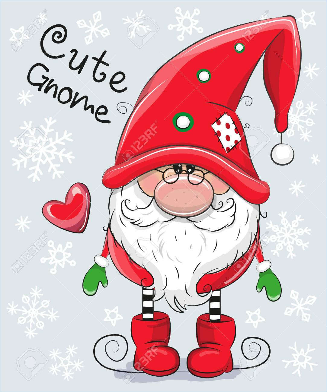 Christmas Images Free Cartoon.Greeting Christmas Card Cute Cartoon Gnome On A Blue Background