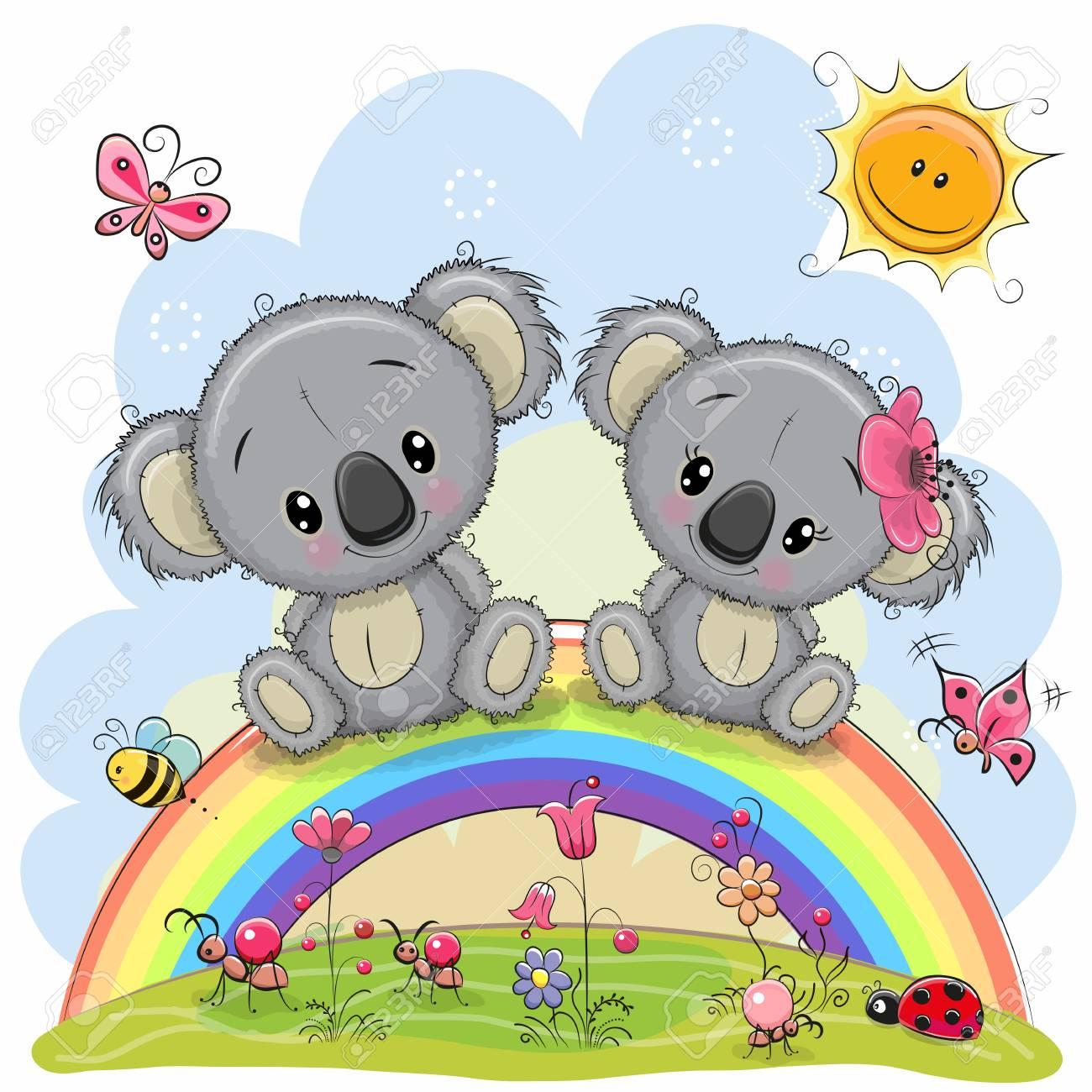Two Cute Cartoon Koalas are sitting on the rainbow - 91828413