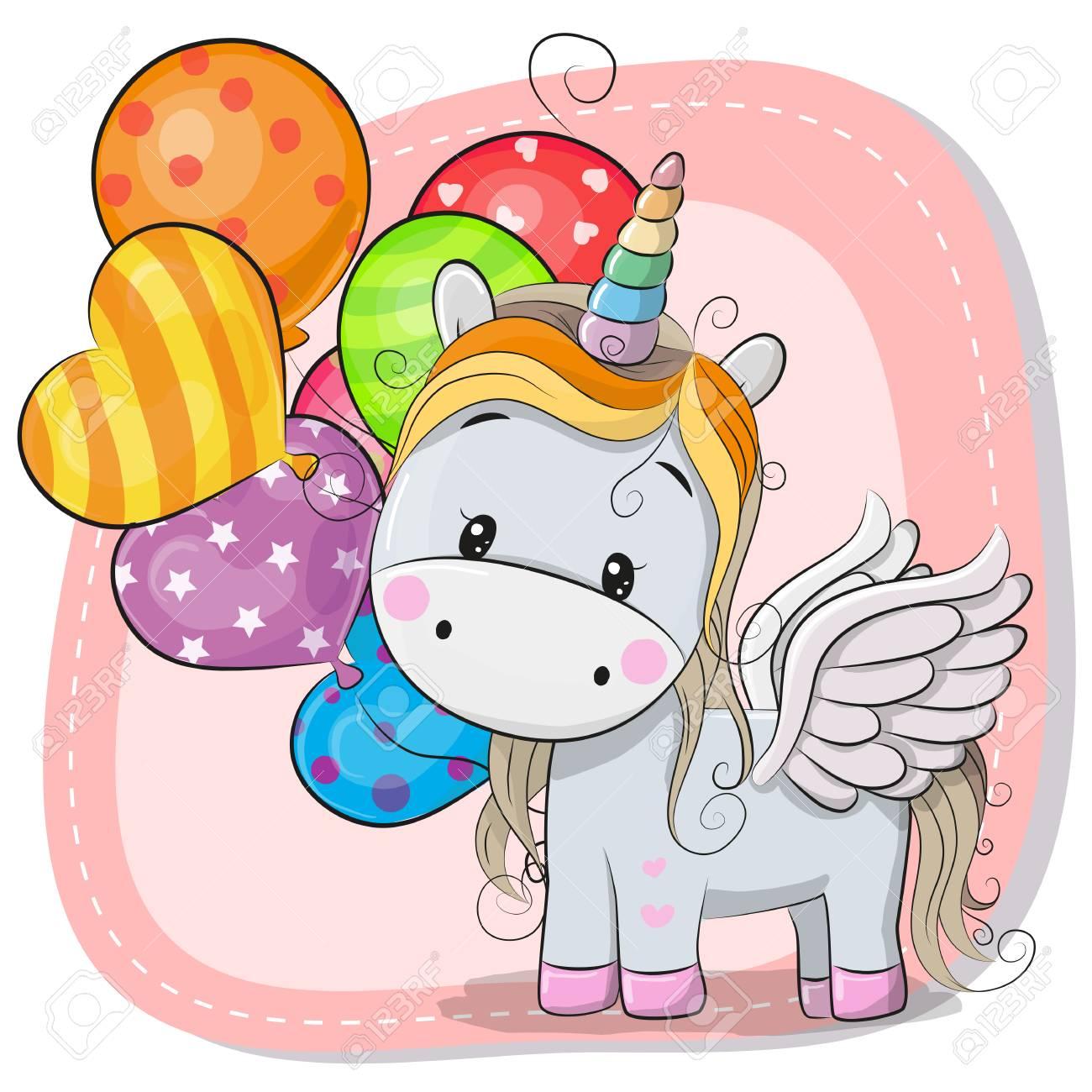 Greeting Card Cute Cartoon Unicorn With Balloon Royalty Free ...