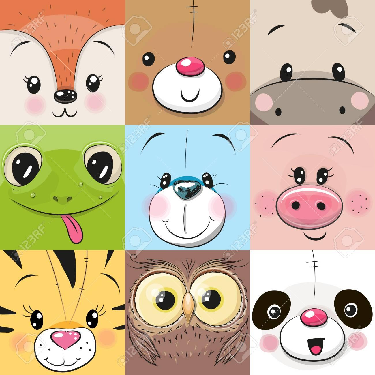 Set of Cute Cratoon square animals faces - 96253982