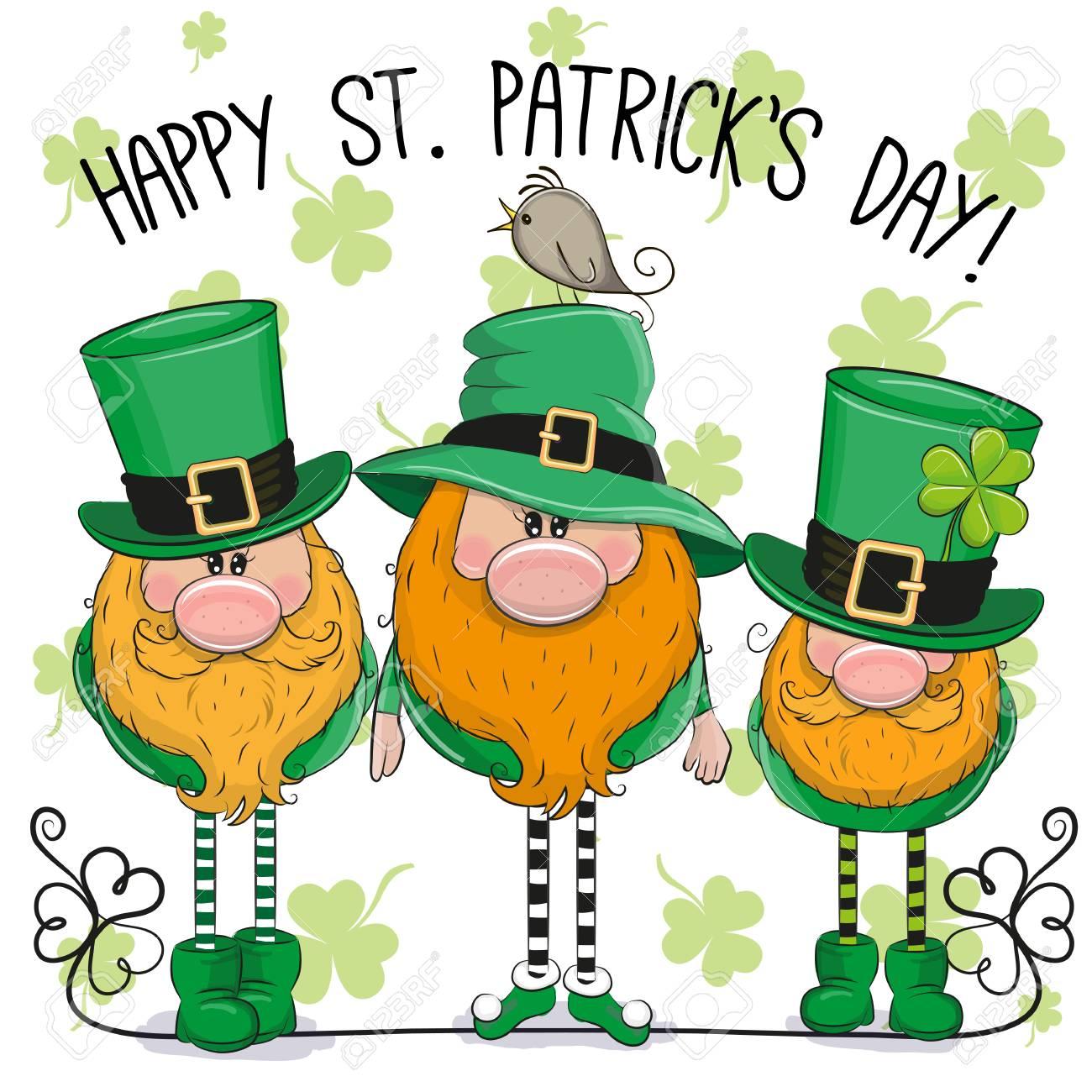 St Patricks greeting card with three cute cartoon leprechauns - 96283986