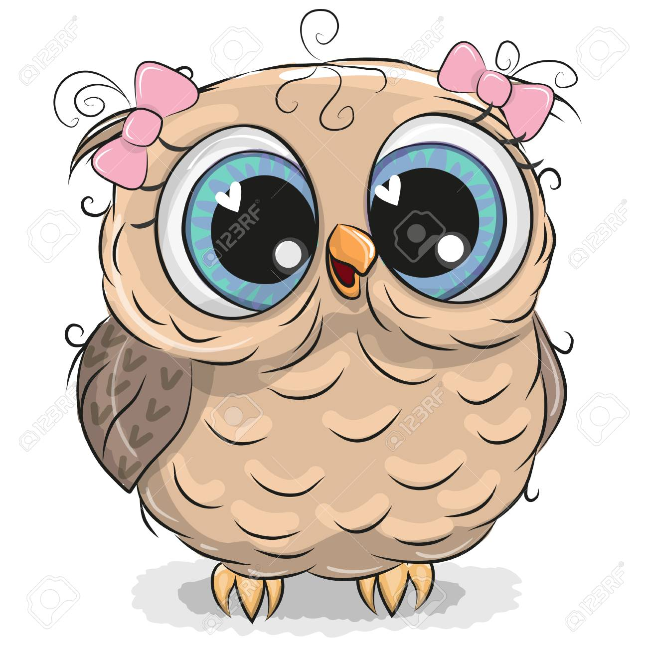 Image of: Vector Cute Cartoon Owl Girl Isolated On White Background Stock Vector 96284109 123rfcom Cute Cartoon Owl Girl Isolated On White Background Royalty Free