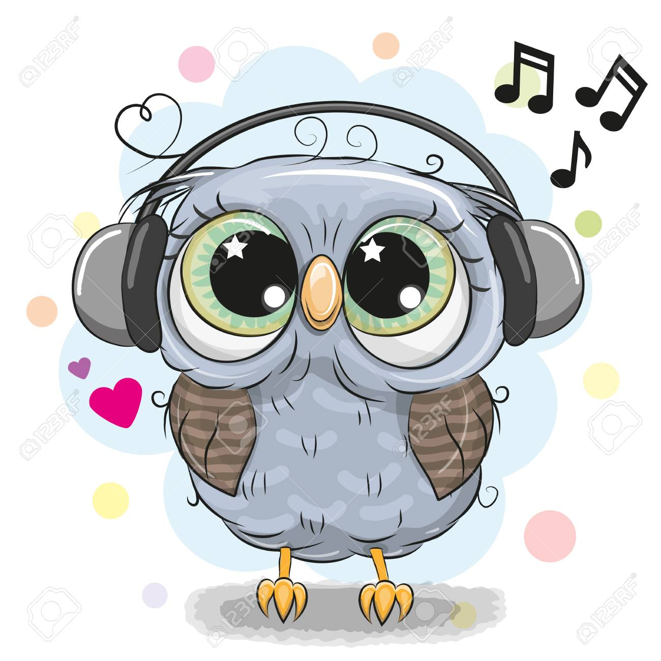 Cute Cartoon Owl With Big Eyes With Headphones Royalty Free