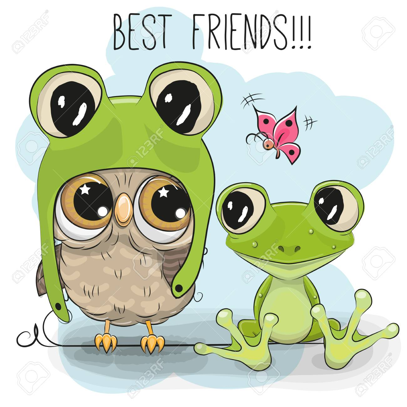 Cute Cartoon Owl In A Frog Hat And A Frog Royalty Free Cliparts ... 694773ad5337