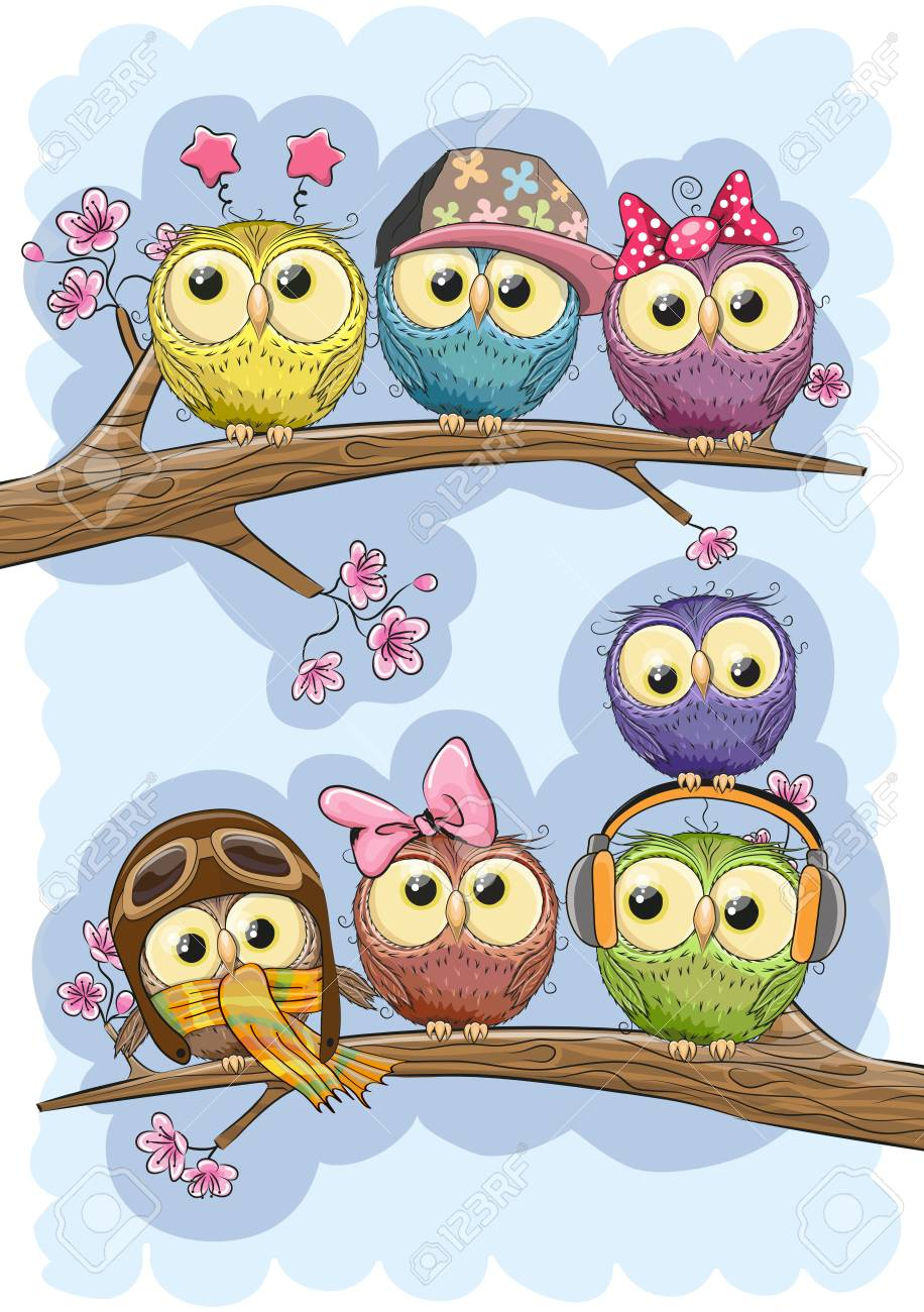 Seven Cute Owls Is Sitting On A Branches Royalty Free Cliparts ... 97149a5fb068