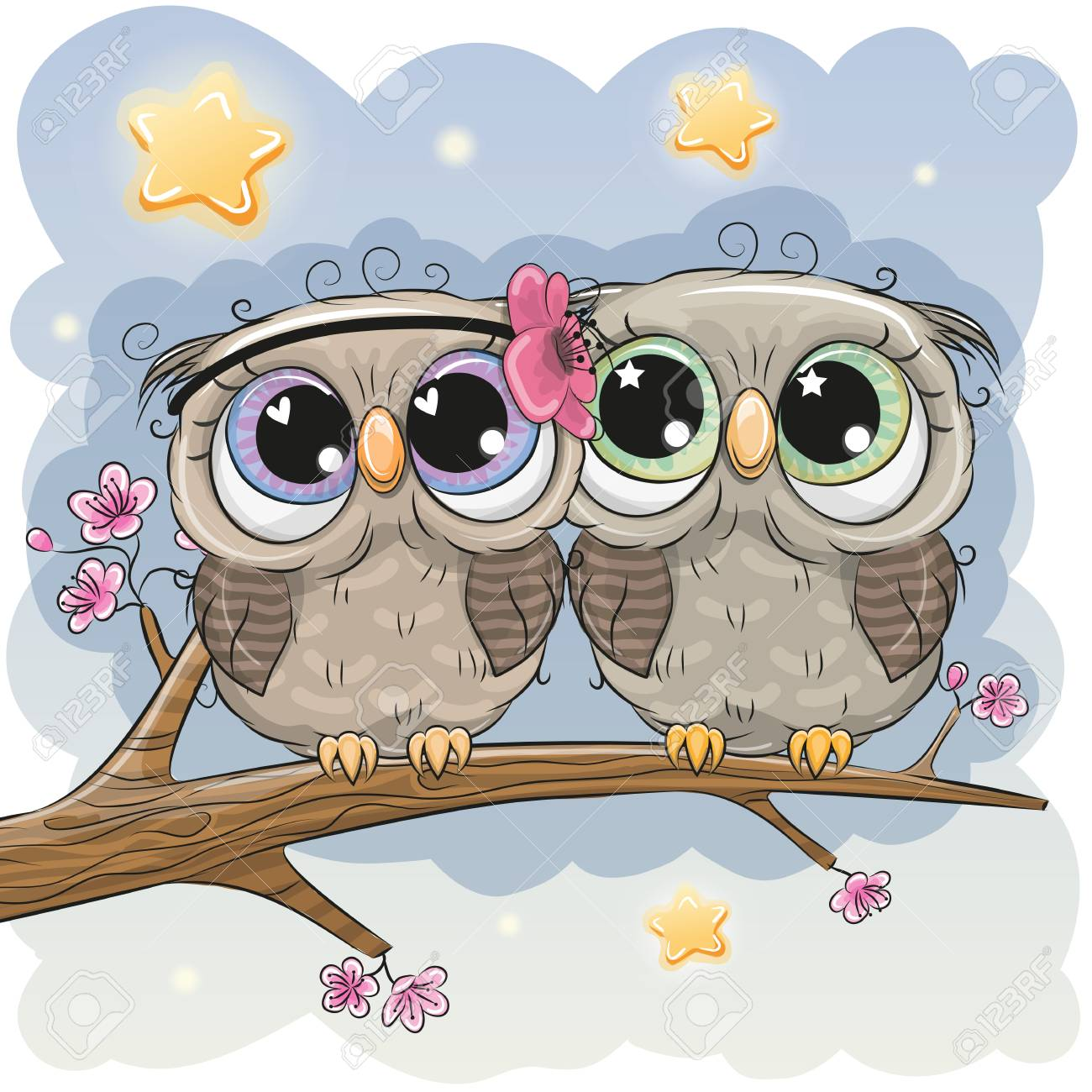 Two Cartoon Cute Owls is sitting on a branch of sakura Stock Vector -  98642093 3d35da14b1fa