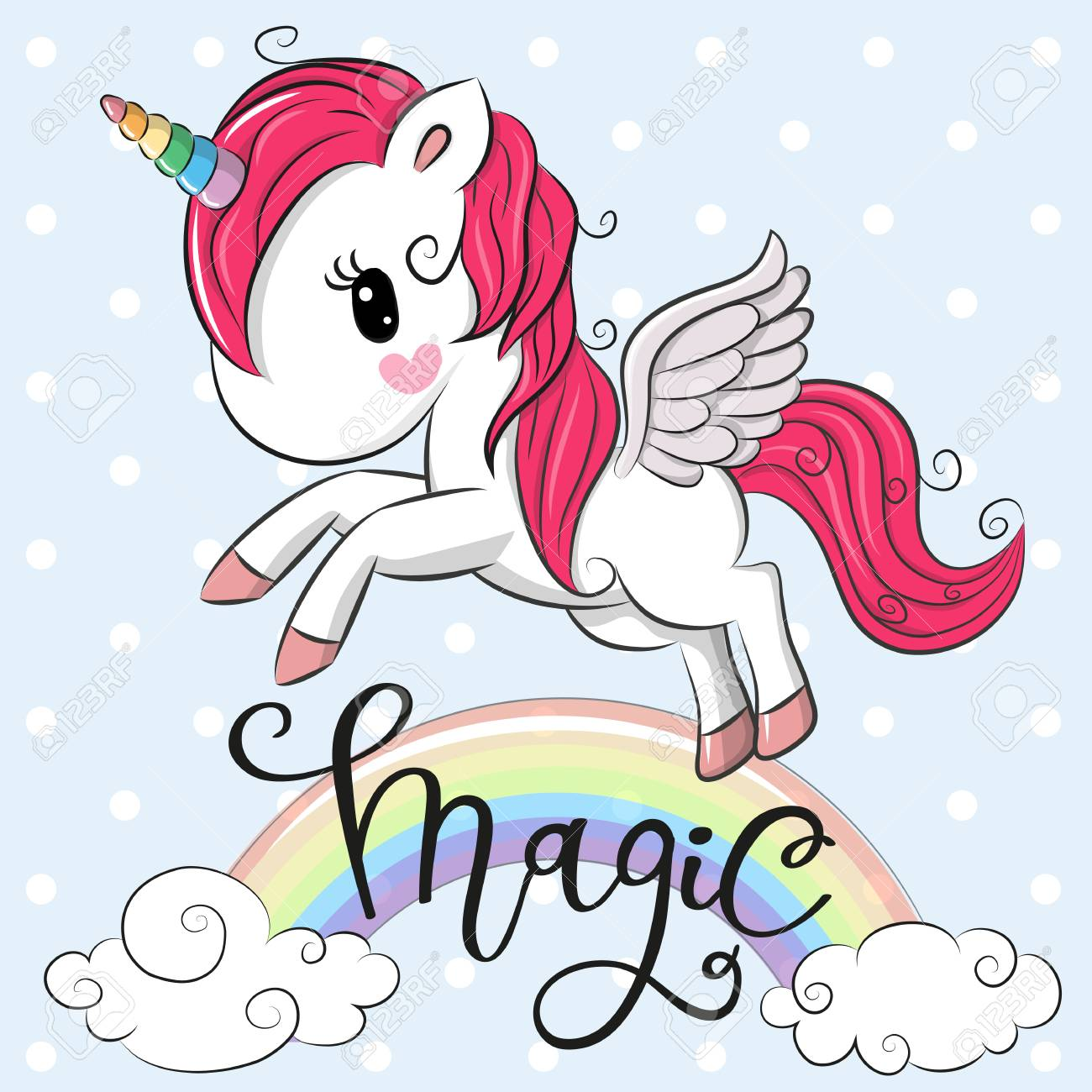 Cartoon Cartoon Unicorn is flying under the rainbow Vector illustration. - 98559662