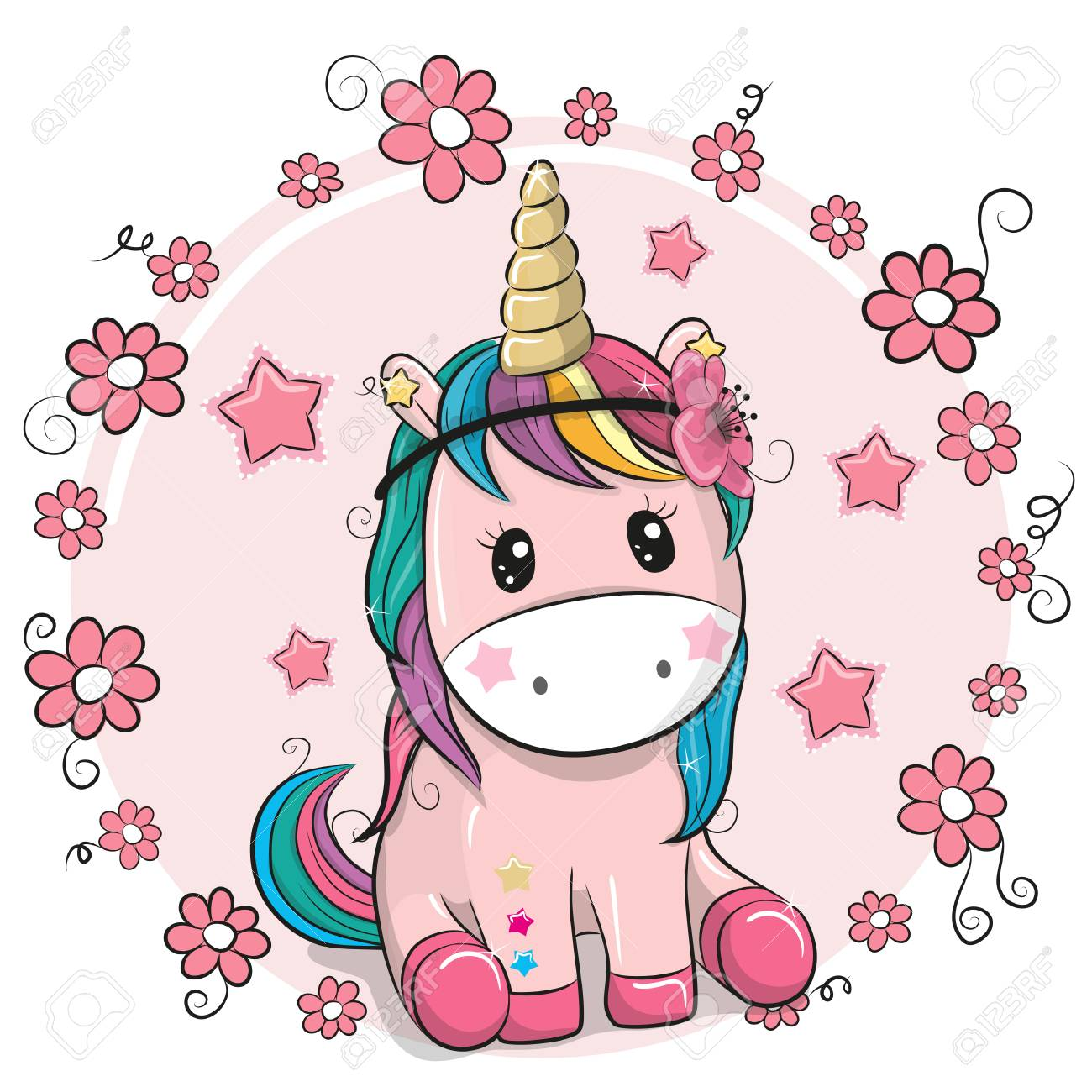 Greeting Card Cute Cartoon Unicorn With Flowers On A Pink Background
