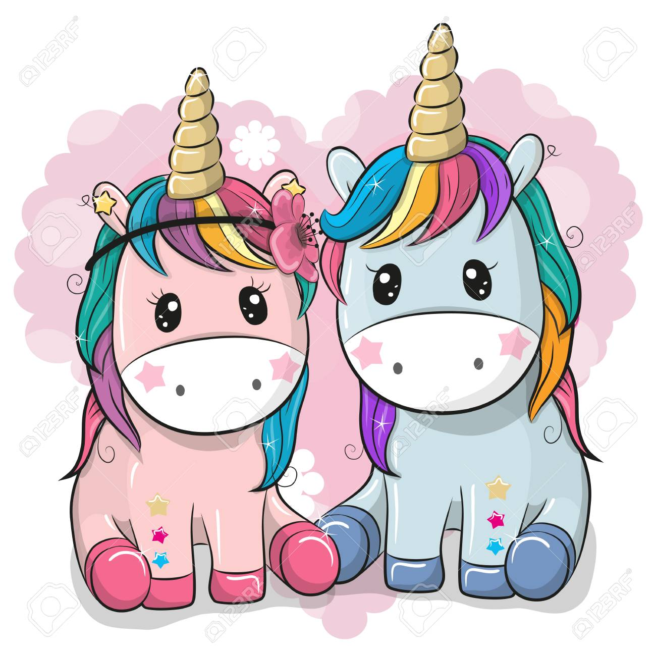 Two Cute Cartoon Unicorns on a heart background - 98834941