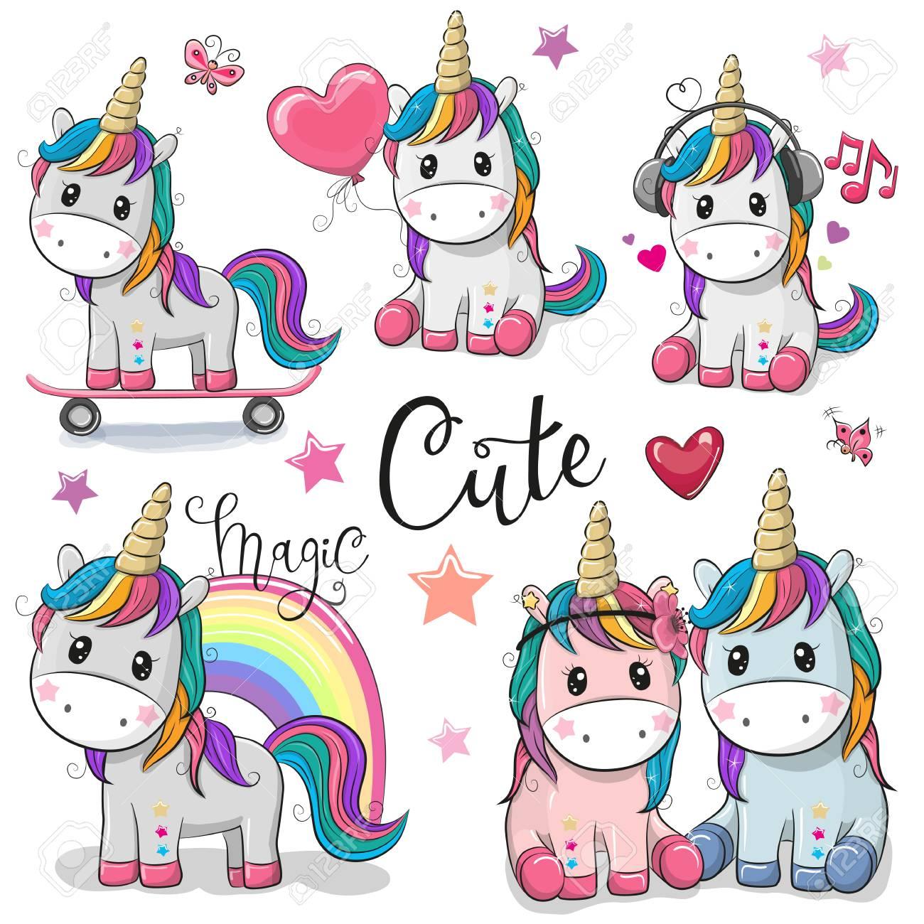 Set of Cute Cartoon Unicorns isolated on a white background - 98834943