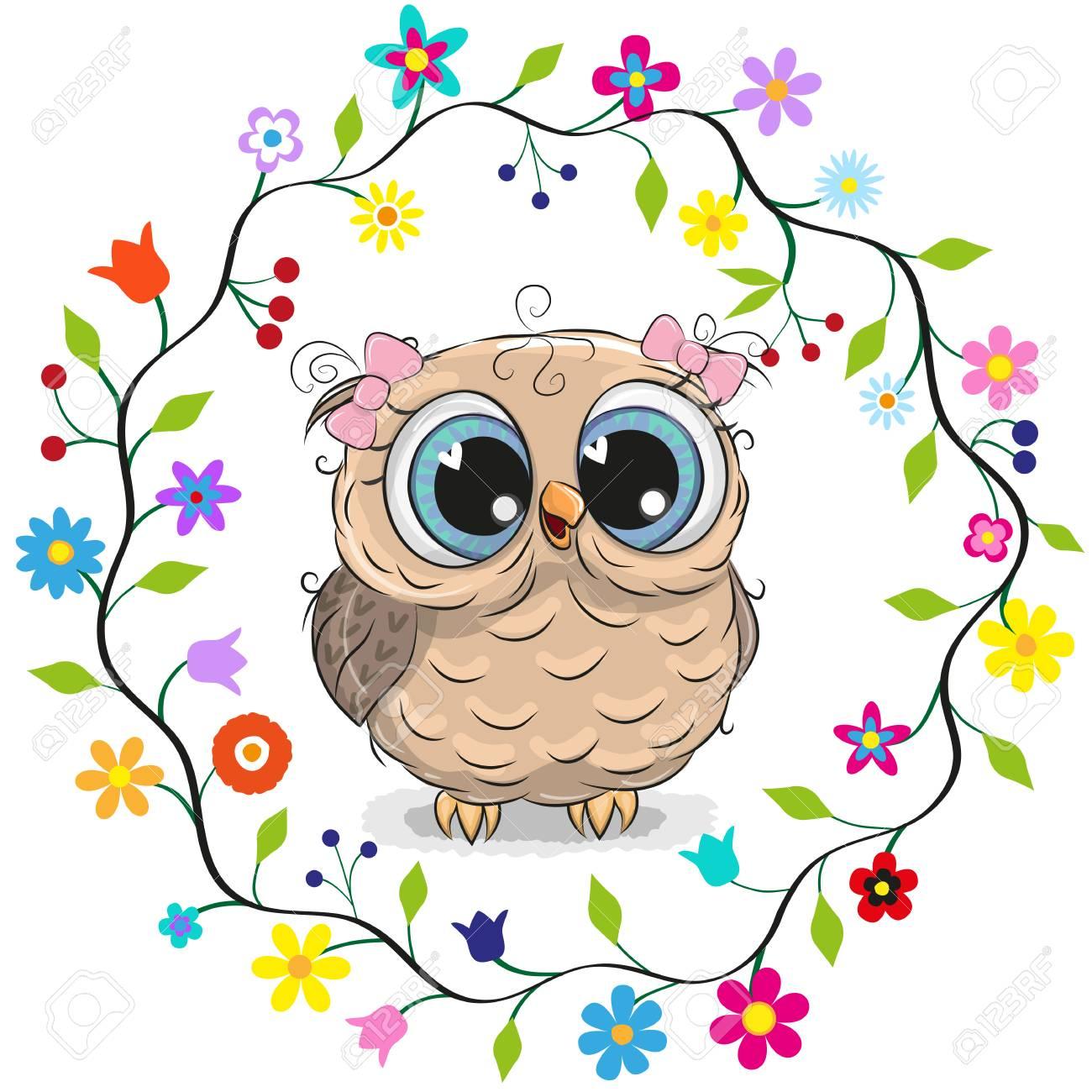 Cute cartoon owl girl in a flowers frame. - 99560440