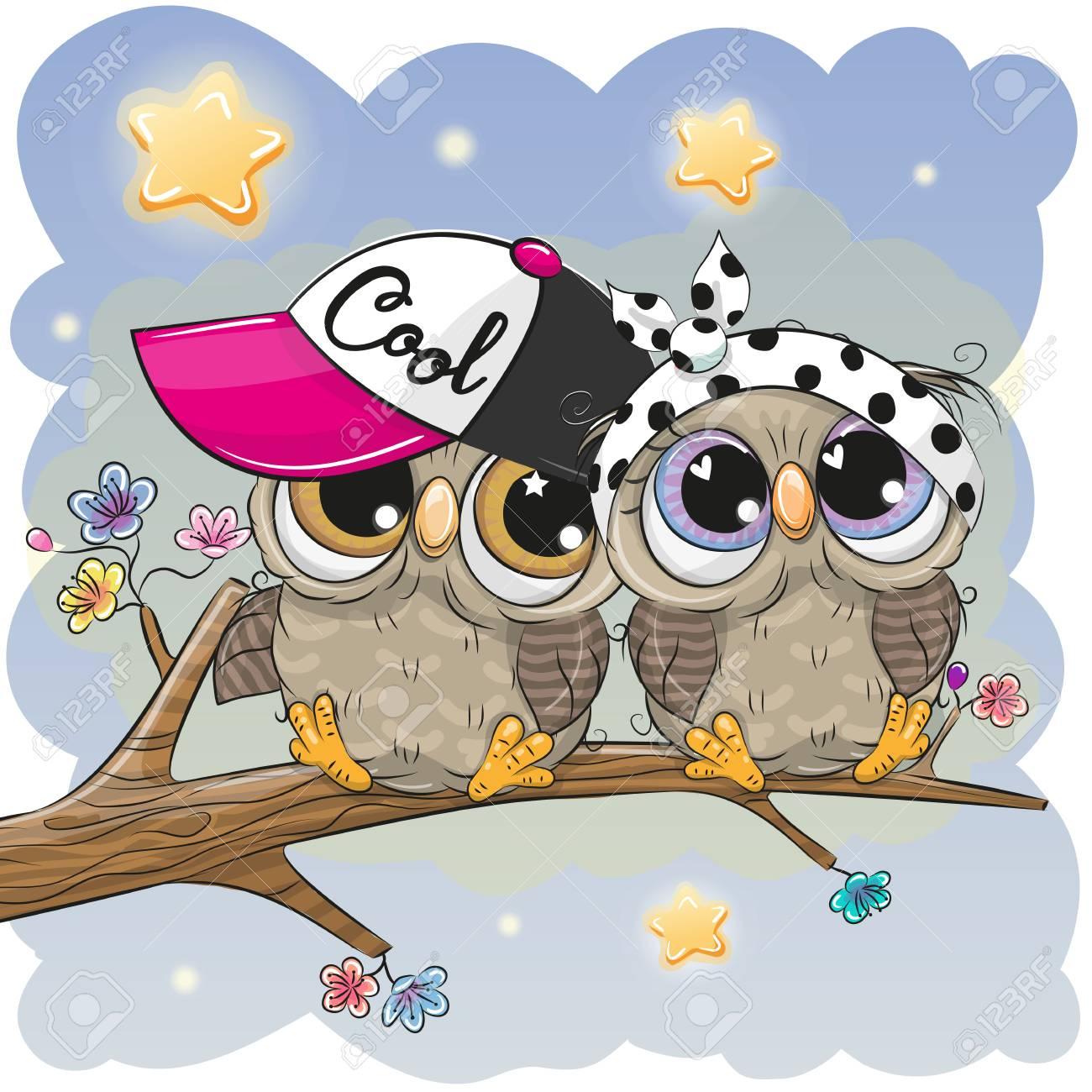 Two Cartoon Cute Owls sitting on a branch of sakura Stock Vector - 99582642 c5c5e169a451