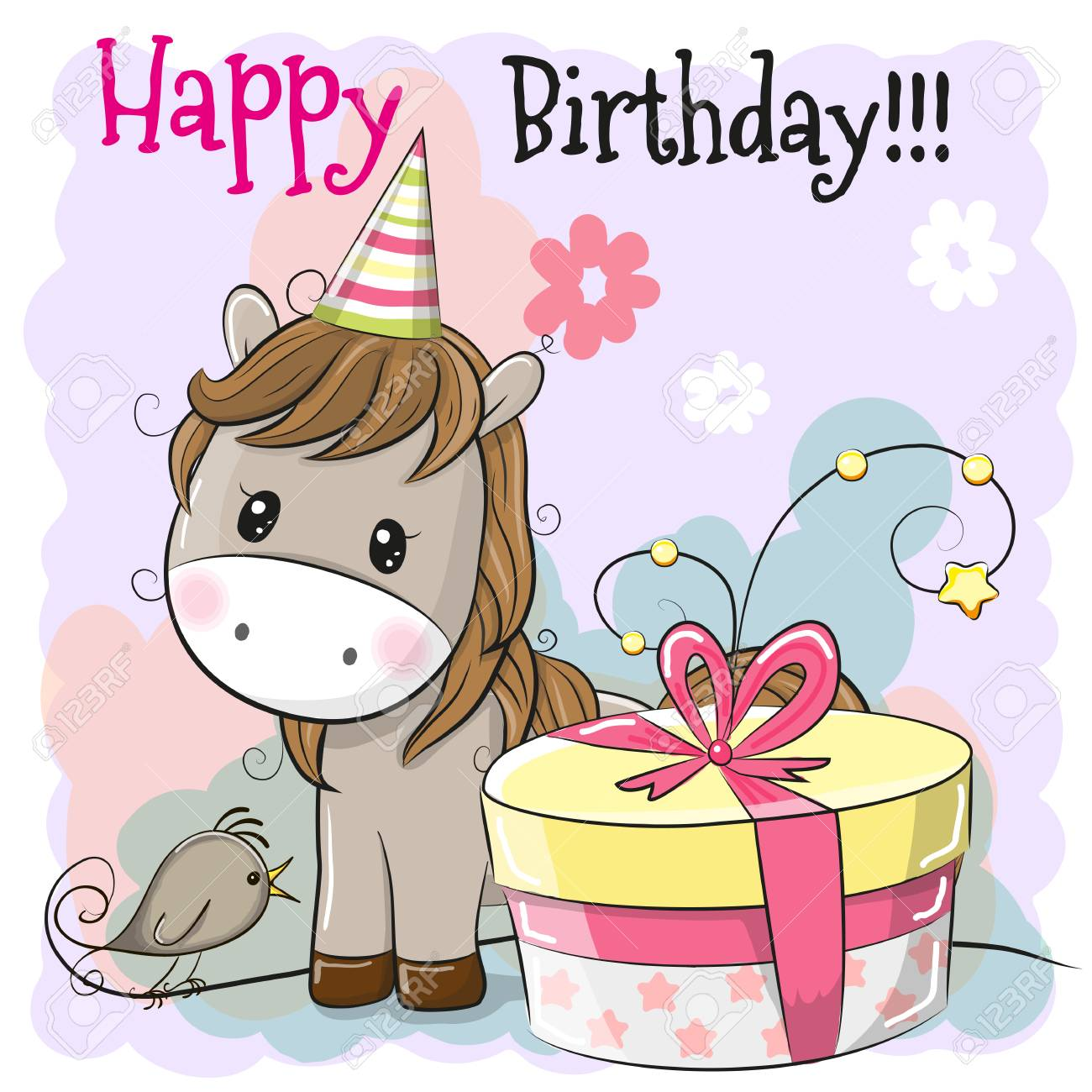 Greeting Birthday Card Cute Cartoon Horse With Gift Stock Vector