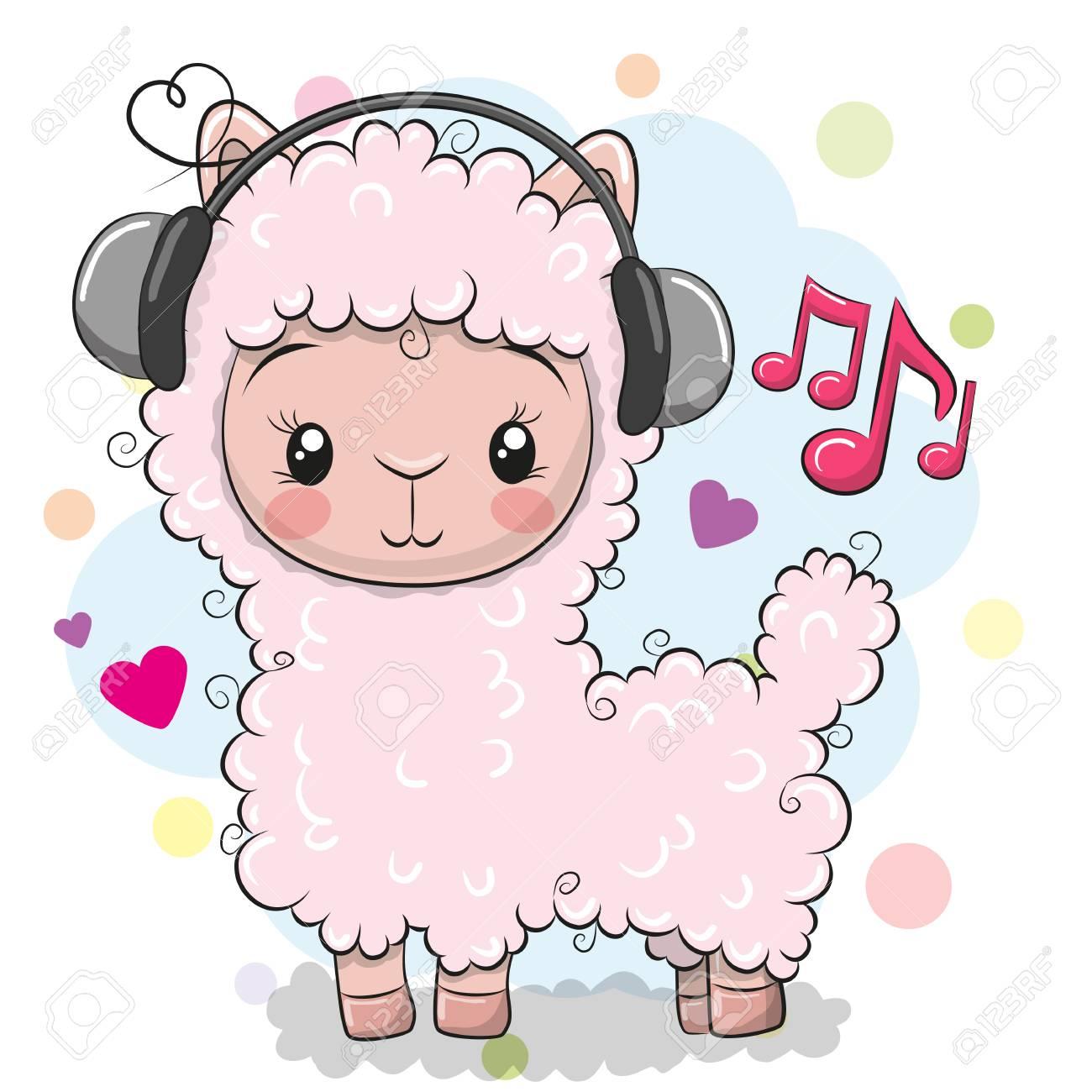 Cute Cartoon Alpaca with headphones on a white background - 100999240