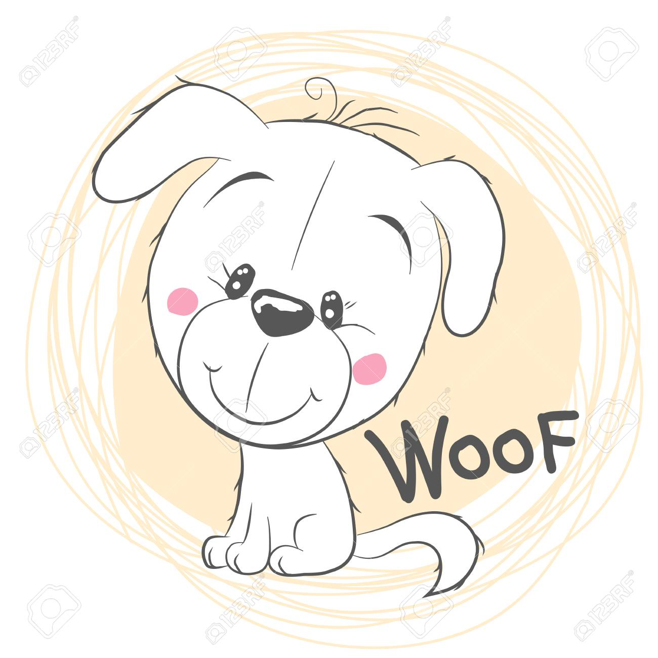 Cute Cartoon White Puppy On A Yellow Background Royalty Free Cliparts Vectors And Stock Illustration Image 102724529