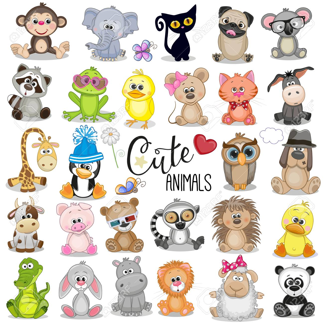 Set of Cute Cartoon Animals on a white background - 108798436