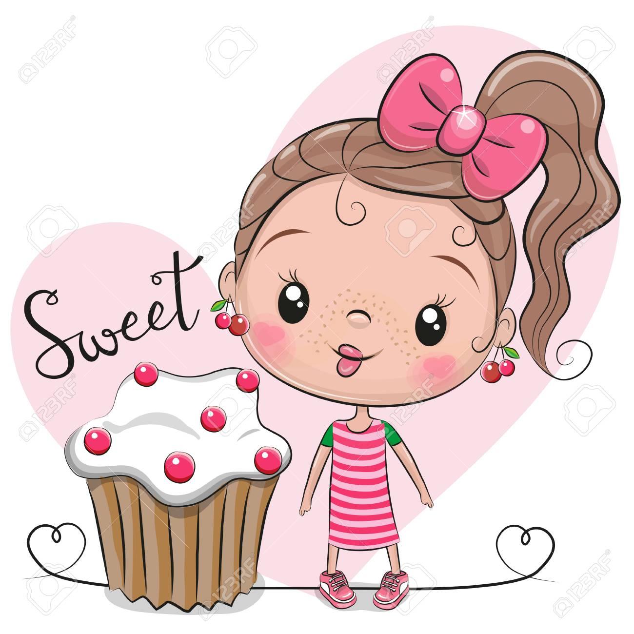 Greeting card Cute Cartoon Girl with cake - 112226774
