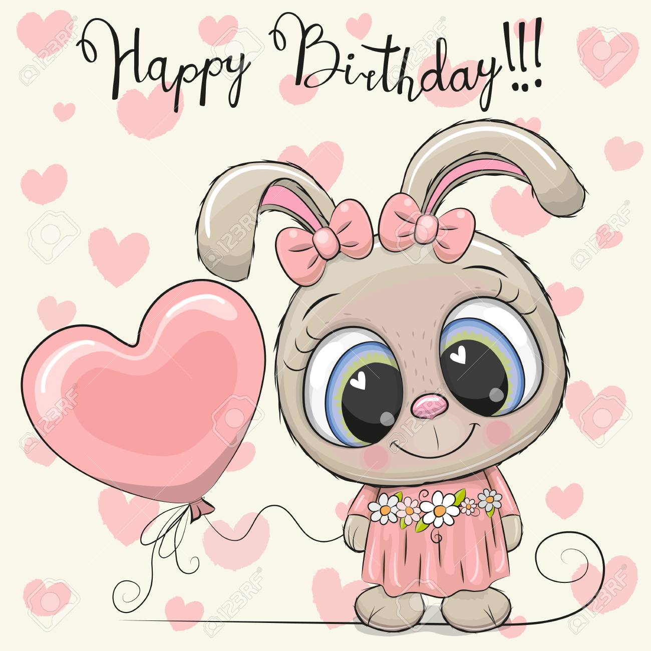 Groovy Greeting Birthday Card Cute Cartoon Rabbit Girl With A Balloon Funny Birthday Cards Online Ioscodamsfinfo
